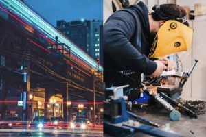 Two side-by-side images. On the left, a train passes over traffic. On the right, a man in a welding mask is welding something.